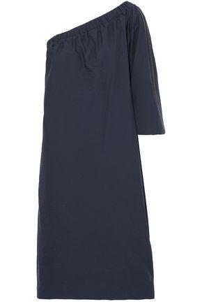 BRUNELLO CUCINELLI One-shoulder bead-embellished crinkled cotton-blend dress
