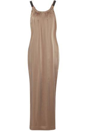 BRUNELLO CUCINELLI Gathered bead-embellished satin maxi dress