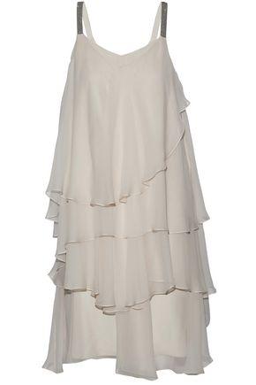 BRUNELLO CUCINELLI Tiered bead-embellished silk-chiffon dress