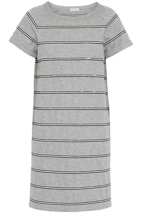 BRUNELLO CUCINELLI Sequin-embellished striped cotton-blend jersey mini dress