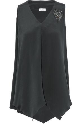 BRUNELLO CUCINELLI Asymmetric appliquéd silk crepe de chine top