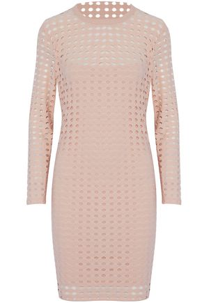T by ALEXANDER WANG Laser-cut stretch-jersey mini dress