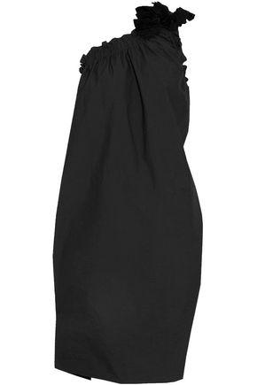 BRUNELLO CUCINELLI One-shoulder shirred embellished cotton-blend dress