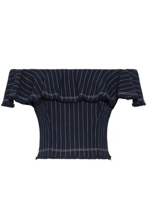 T by ALEXANDER WANG Off-the-shoulder ruffled pinstriped cotton top