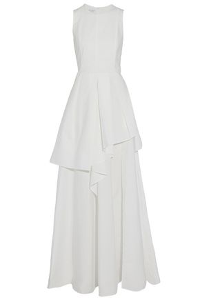 BRUNELLO CUCINELLI Layered crinkled cotton-blend poplin gown
