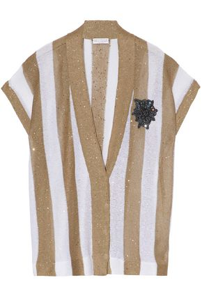 BRUNELLO CUCINELLI Embellished striped linen and silk-blend cardigan