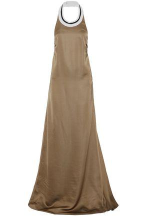 BRUNELLO CUCINELLI Metallic-trimmed silk-blend satin halterneck gown