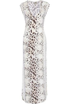 HAUTE HIPPIE Snake-print stretch-modal maxi dress