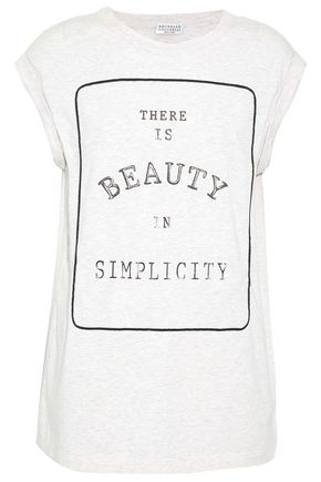 BRUNELLO CUCINELLI Bead-embellished printed stretch cotton-jersey T-shirt