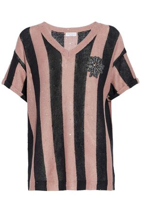 BRUNELLO CUCINELLI Embellished striped linen and silk-blend sweater