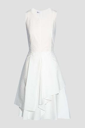 BRUNELLO CUCINELLI Asymmetric pleated cotton-blend dress