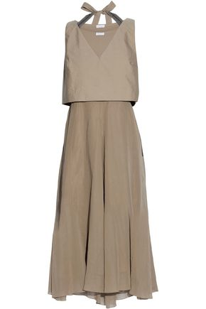 BRUNELLO CUCINELLI Bow detailied embellished cotton paneled chiffon midi dress