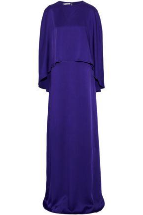 OSCAR DE LA RENTA Cape-effect satin gown