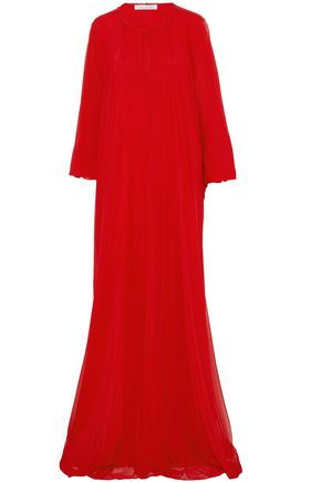 OSCAR DE LA RENTA Pintucked draped silk-chiffon gown