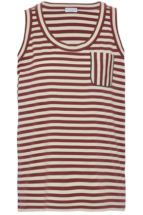BRUNELLO CUCINELLI Bead-embellished striped cotton-jersey tank