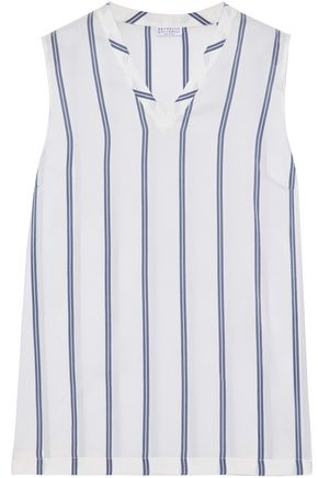 BRUNELLO CUCINELLI Striped silk-satin top