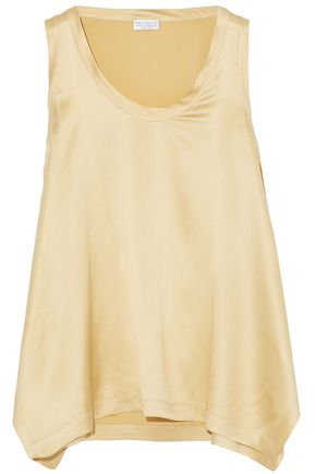 BRUNELLO CUCINELLI Bead-embellished stretch-silk satin top