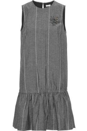 BRUNELLO CUCINELLI Gathered appliquéd striped wool and linen-blend mini dress