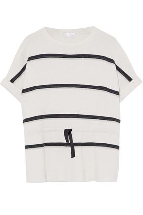 BRUNELLO CUCINELLI Bead-embellished striped cashmere top