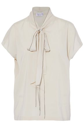 BRUNELLO CUCINELLI Pussy-bow bead-embellished silk-blend blouse