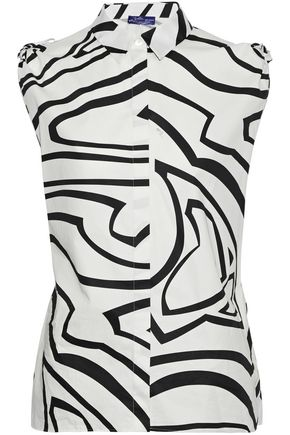 EMILIO PUCCI Knotted printed cotton-poplin shirt