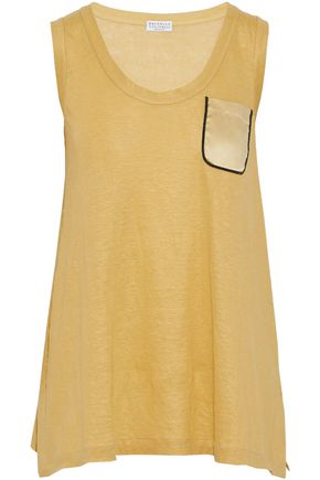 BRUNELLO CUCINELLI Satin-paneled bead-embellished linen and silk-blend tank