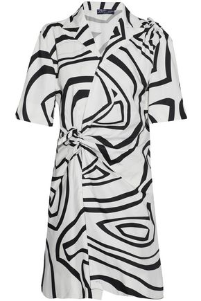 EMILIO PUCCI Knotted printed cotton-poplin shirt dress