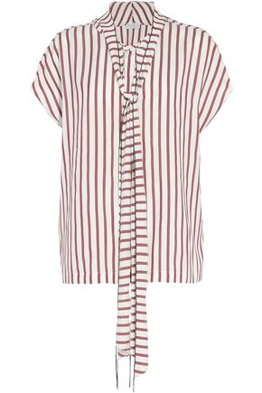 BRUNELLO CUCINELLI Pussy-bow bead-embellished striped silk blouse