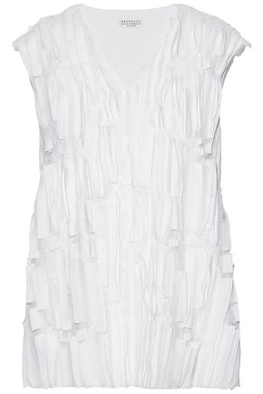 BRUNELLO CUCINELLI Tulle and sequin-embellished stretch-silk top