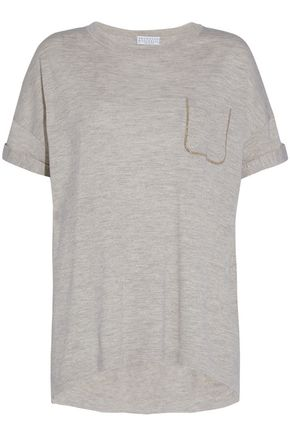 BRUNELLO CUCINELLI Embellished cashmere and silk-blend slub-jersey top