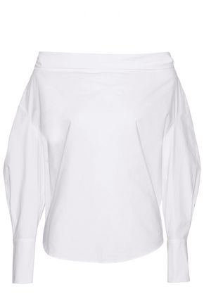 EMILIO PUCCI Off-the-shoulder cotton-blend poplin top