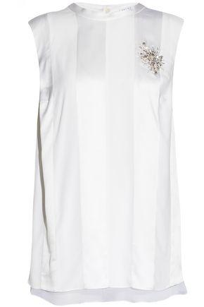 BRUNELLO CUCINELLI Appliquéd satin-paneled silk-blend top