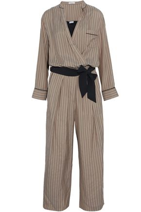 BRUNELLO CUCINELLI Wrap-effect belted pinstriped silk jumpsuit