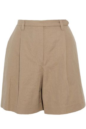 BRUNELLO CUCINELLI Pleated cotton and linen-blend twill shorts
