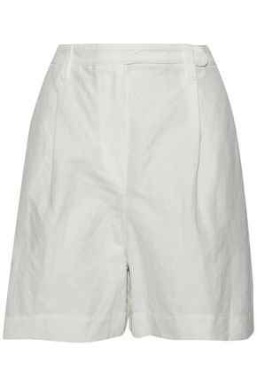 BRUNELLO CUCINELLI Pleated cotton and linen-blend shorts