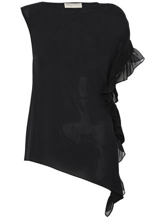 EMILIO PUCCI Asymmetric ruffle-trimmed silk top