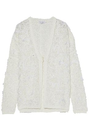 BRUNELLO CUCINELLI Embellished embroidered coated open-knit cardigan