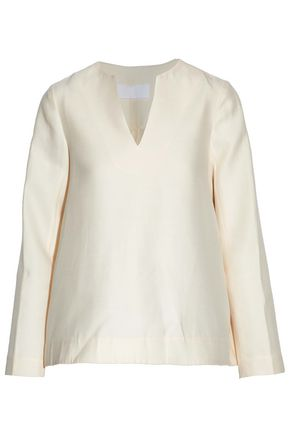 CO Wool, cotton, silk and cashmere-blend satin top