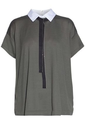 BRUNELLO CUCINELLI Embellished paneled cotton-jersey top