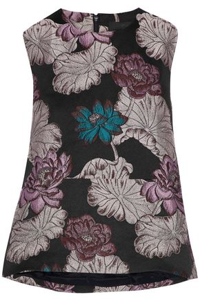 CO Metallic floral-brocade top