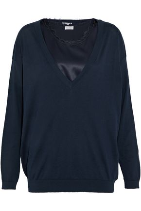 BRUNELLO CUCINELLI Layered bead-embellished satin and cotton-jersey sweater