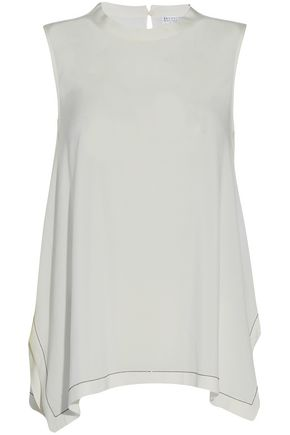 BRUNELLO CUCINELLI Draped bead-embellished stretch-silk top
