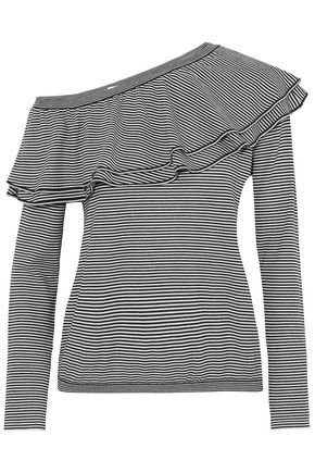 BRUNELLO CUCINELLI Off-the-shoulder ruffled striped wool and cashmere-blend top