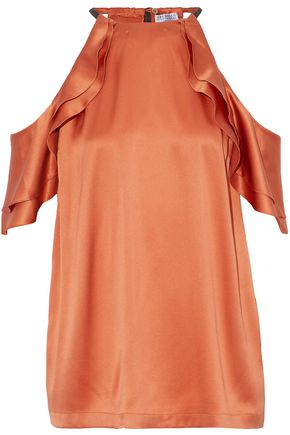 BRUNELLO CUCINELLI Ruffled cold-shoulder embellished silk-blend satin top