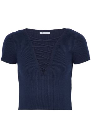 T by ALEXANDER WANG Cropped lace-up ribbed cotton and cashmere-blend top