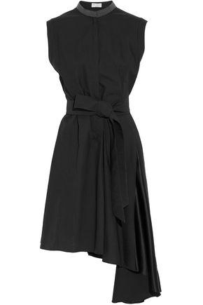 BRUNELLO CUCINELLI Bead-embellished draped cotton-blend poplin and silk-blend satin dress