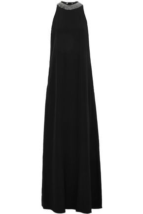 BRUNELLO CUCINELLI Bead-embellished silk-crepe gown
