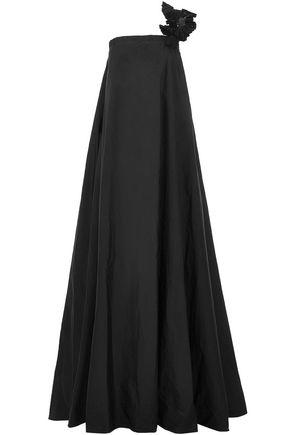 BRUNELLO CUCINELLI One-shoulder gathered embellished cotton-blend gown