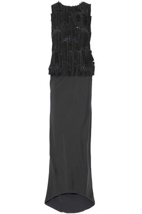 BRUNELLO CUCINELLI Embellished pleated silk-satin gown