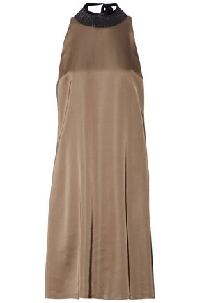 BRUNELLO CUCINELLI Embellished silk-blend satin dress